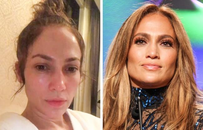 Jennifer Lopez makeup-free