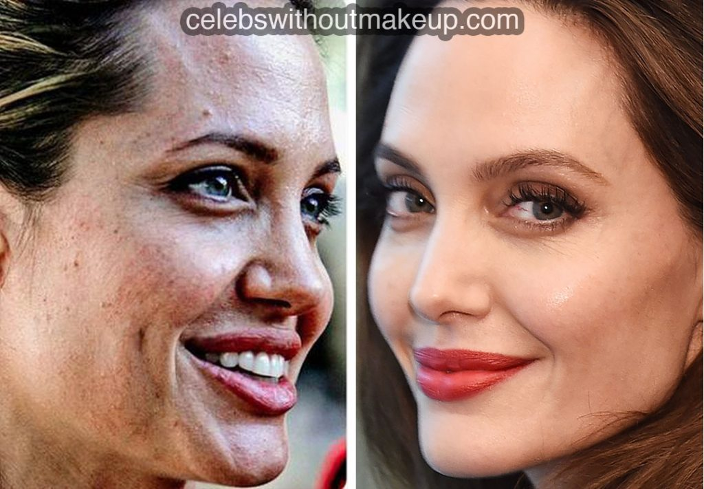 Angelina Jolie with and without makeup