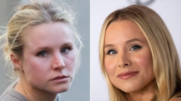 Kristen Bell without makeup omparison