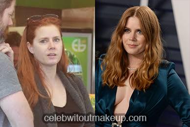 Amy Adams no makeup comparison