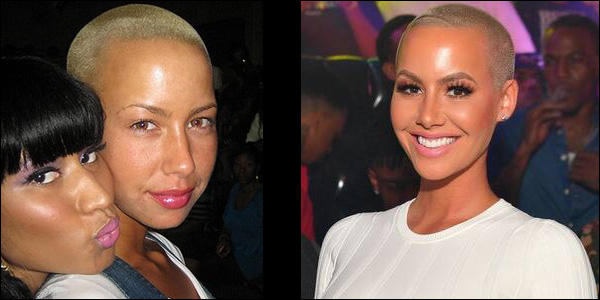 Amber Rose without makeup comparison